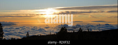 view over the sea of u200bu200bclouds at teide on tenerife - Stock Photo