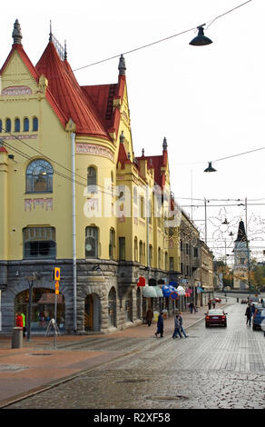 Old street in Tampere. Finland - Stock Photo