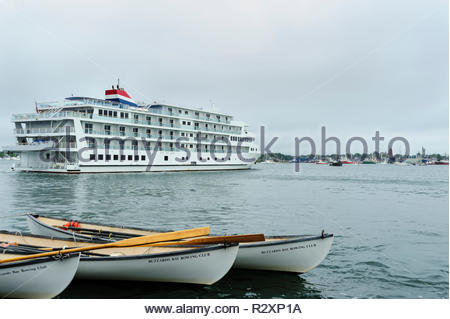 New Bedford, Massachusetts, USA - September 23, 2017: Cruise ship departs New Bedford during Working Waterfront Festival - Stock Photo
