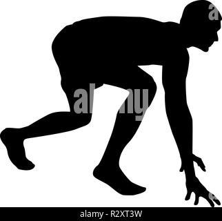 Runner preparing to start running Start running Runner in ready posture to sprint silhouette Ready to start icon black color vector I flat - Stock Photo