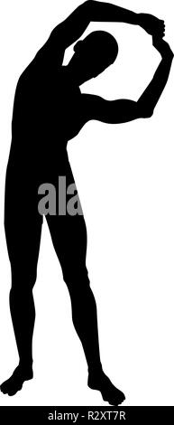 Man doing exercises tilts to the side Sport action male Workout silhouette yoga front view icon black color vector I flat style simple imag - Stock Photo