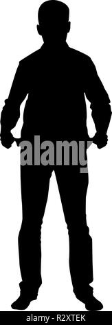 Man took out his empty pockets Businessman has not money silhouette concept icon black color vector I flat style simple image - Stock Photo