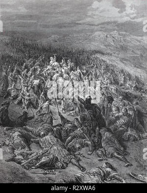 Digital improved reproduction, The Battle of Ascalon took place on 12 August 1099 shortly after the capture of Jerusalem, and is often considered the last action of the First Crusade. Die Schlacht bei Ascalon, from an original print published in the 19th century - Stock Photo
