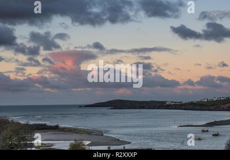 Cardigan Island and river Teifi estuary, Poppit Sands, Pembrokeshire, Wales - Stock Photo
