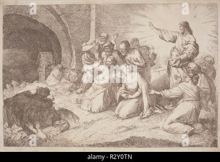 The Raising of Lazarus. Dated: 1758/1759. Dimensions: plate: 29 x 43 cm (11 7/16 x 16 15/16 in.)  sheet: 30.5 x 44.5 cm (12 x 17 1/2 in.). Medium: etching in sanguine on laid paper. Museum: National Gallery of Art, Washington DC. Author: Gaetano Zompini, after Giovanni Benedetto Castiglione. - Stock Photo