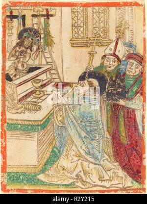 The Mass of Saint Gregory. Dated: 1480/1490. Medium: woodcut in brown, hand-colored in red lake, light blue, green, yellow, gold, and orange. Museum: National Gallery of Art, Washington DC. Author: German 15th Century. - Stock Photo