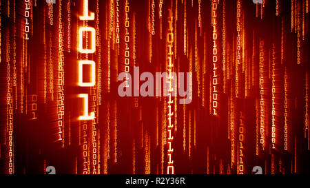 Binary red particles falling in Matrix. Network digital concept - Stock Photo