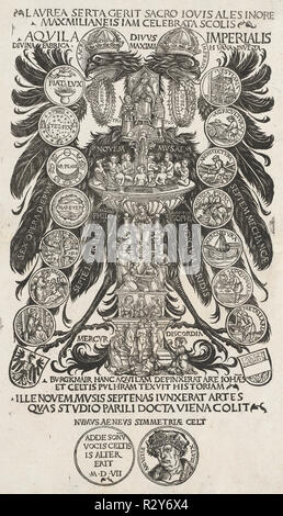 The Imperial Eagle. Dated: 1507. Dimensions: image: 38.8 x 21.5 cm (15 1/4 x 8 7/16 in.). Medium: woodcut. Museum: National Gallery of Art, Washington DC. Author: Hans Burgkmair I. HANS BURGKMAIR DER ÄLTERE. - Stock Photo