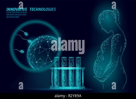 In Vitro fertilization 3D low poly. Pregnant woman medicine health care pregnancy healthy business concept. Polygonal girl holding big belly. Medical center birth help IVF modern concept - Stock Photo