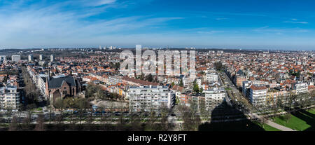 View over the city of Brussels from Jette to Ganshoren taken from the Basilica of the Sacred Heart - Stock Photo