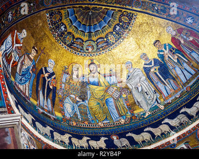 12th and 13th-century mosaics in the apse of the Basilica of Santa Maria in Trastevere - Rome, Italy - Stock Photo