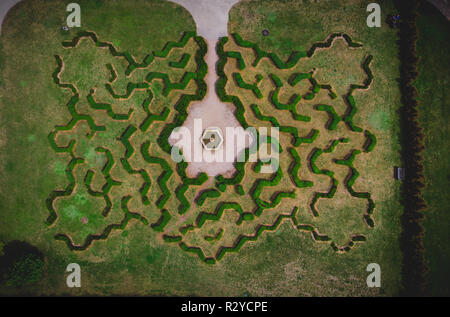 Top view of symmetrical historic european haze labyrinth. - Stock Photo