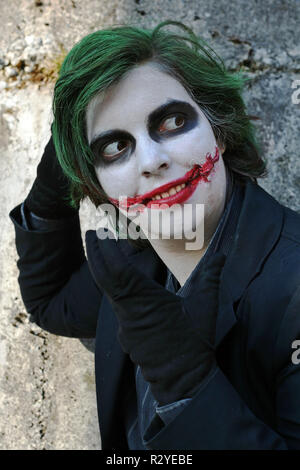 the nasty smile of jokers - Stock Photo