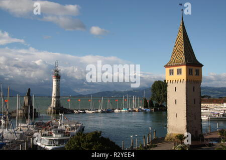 The harbour and Mangenturm in Lindau on the Bodensee - Stock Photo