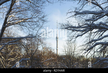 12 February 2018 Moscow, Russia. View of the Ostankino TV tower from the snow-covered Botanical garden. - Stock Photo
