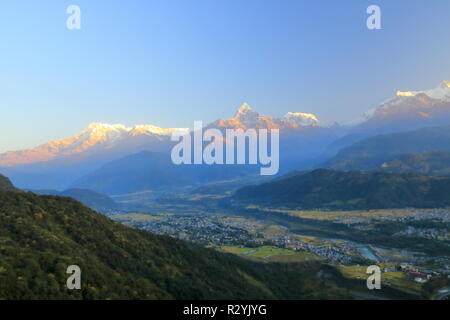 Morning view, Sunrise at Annapurna mountain range from Pokhara in Nepal - Stock Photo