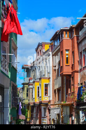 Balat quarter with colored houses in Istanbul - Turkey - Stock Photo