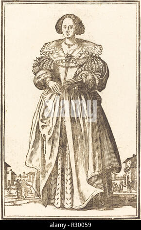 Noble Woman with Fan. Medium: woodcut. Museum: National Gallery of Art, Washington DC. Author: after Jacques Callot. - Stock Photo