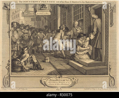 The Industrious 'Prentice out of his Time, and Married to his Master's Daughter. Dated: 1747. Medium: etching and engraving. Museum: National Gallery of Art, Washington DC. Author: William Hogarth. - Stock Photo