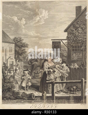 Evening. Dated: 1738. Medium: etching and engraving. Museum: National Gallery of Art, Washington DC. Author: William Hogarth. after William Hogarth. - Stock Photo