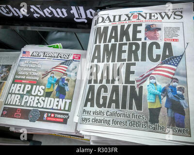Headlines of the New York Post and Daily News newspapers on Sunday, November1 8, 2018 use the same photograph in their report on the previous days' visit by President Donald Trump to the scene of the Camp Fire in California and his comments afterward. (© Richard B. Levine) - Stock Photo