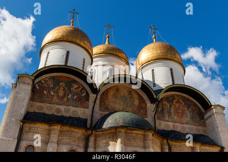 1479 Assumption Cathedral of the Kremlin, also known as Dormition Cathedral, Moscow, Russia. Architect - Aristotele Fioravanti. - Stock Photo