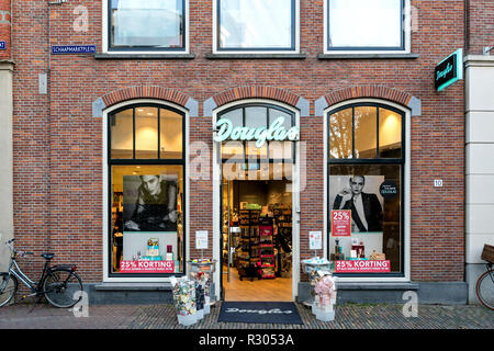 Douglas branch in Sneek, the Netherlands. Douglas is a German perfume and cosmetics retailer and has more than 1,700 across Europe. - Stock Photo