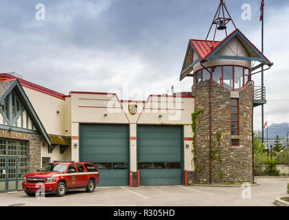 BANFF, AB, CANADA - JUNE 2018: Fire Department station building in Banff town centre. - Stock Photo