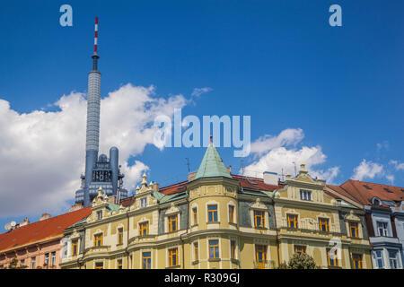 A view to Zizkov TV Tower in Prague - Stock Photo