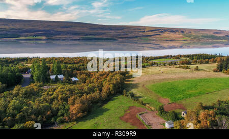 The Hallormsstadur Forest, Lagarfljot river, Eastern Iceland. This image is shot using a drone. - Stock Photo