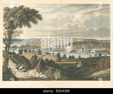 City of Washington: From beyond the Navy Yards. Dated: published 1834. Dimensions: sheet (trimmed within plate mark): 53.6 x 70 cm (21 1/8 x 27 9/16 in.). Medium: hand-colored aquatint with touches of engraving  on wove paper. Museum: National Gallery of Art, Washington DC. Author: William James Bennett after George Cooke. - Stock Photo