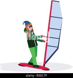 woman windboarder holding sail girl windboarding windsurfing on snow concept extreme winter sport female cartoon character full length flat isolated - Stock Photo