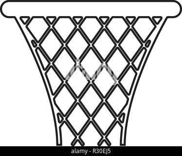 Basketball basket Streetball net basket icon black color vector I flat style simple image outline - Stock Photo