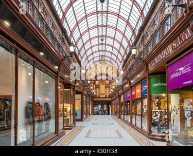 Shops in the Edwardian Central Arcade, Newcastle upon Tyne, Tyne and Wear, England, UK - Stock Photo