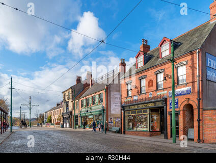 Shops on the High Street in the 1900s Town, Beamish Open Air Museum, Beamish, County Durham, England, UK - Stock Photo
