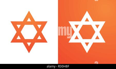 Star of David in orange color. Hexagram symbol of judaism - Stock Photo