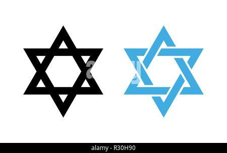 Hexagram David Star - black and blue icon of Israel holy religious symbol. - Stock Photo