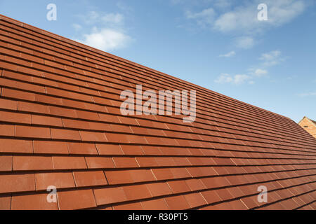 New traditional plain clay tiles on a house roof against a blue sky with copy space - Stock Photo