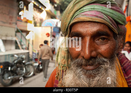 Meeting a Sadhu on his morning walk. Rishikesh, India - Stock Photo