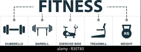 Sport Equipment set icons collection. Includes simple elements such as dumbbells, barbell, exercise bike, treadmill, weight premium icons. - Stock Photo