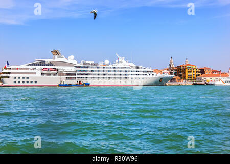 Cruise ship in the port of Venice, Italy - Stock Photo