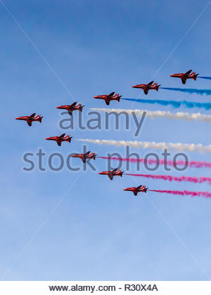 Red arrows doing flyby over Twickenham Stadium for Rugby World Cup - Stock Photo