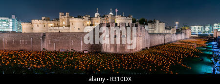 Special event Beyond the Deepening Shadow at Tower of London, United Kingdom - Stock Photo