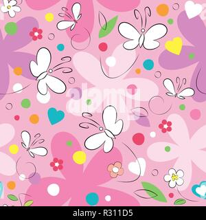 Pink, purple and white butterflies and flowers pattern on pink background - Stock Photo