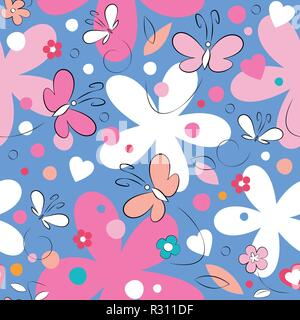 Pink and white butterflies and flowers pattern on blue background - Stock Photo