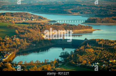 Aerial view, low water Möhnesee, dam Möhnesee, broad shore area, Sauerland, Möhnesee, nature park Arnsberger forest, Haarstrang, North Rhine-Westphali - Stock Photo