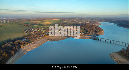 Aerial view, low water Möhnesee, broad shore area, Sauerland, Möhnesee, Arnsberger Wald Nature Park, Haarstrang, North Rhine-Westphalia, Germany, DEU, - Stock Photo