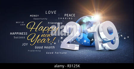 Happy New Year greetings, best wishes and 2019 date number, composed with planet earth blue colored, on a festive black background, with glitters and  - Stock Photo