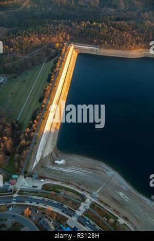 Aerial view, lake Sorpesee, dam, dam, low water level, low water, wide dry bank area,, Langscheid, Sundern, Sauerland, North Rhine-Westphalia, Germany - Stock Photo
