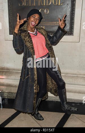 London, UK. 20th November, 2018.  Sonique attends the launch of new restaurant Brasserie Of Light at Selfridges on November 20, 2018 in London, England. Credit: Gary Mitchell, GMP Media/Alamy Live News - Stock Photo